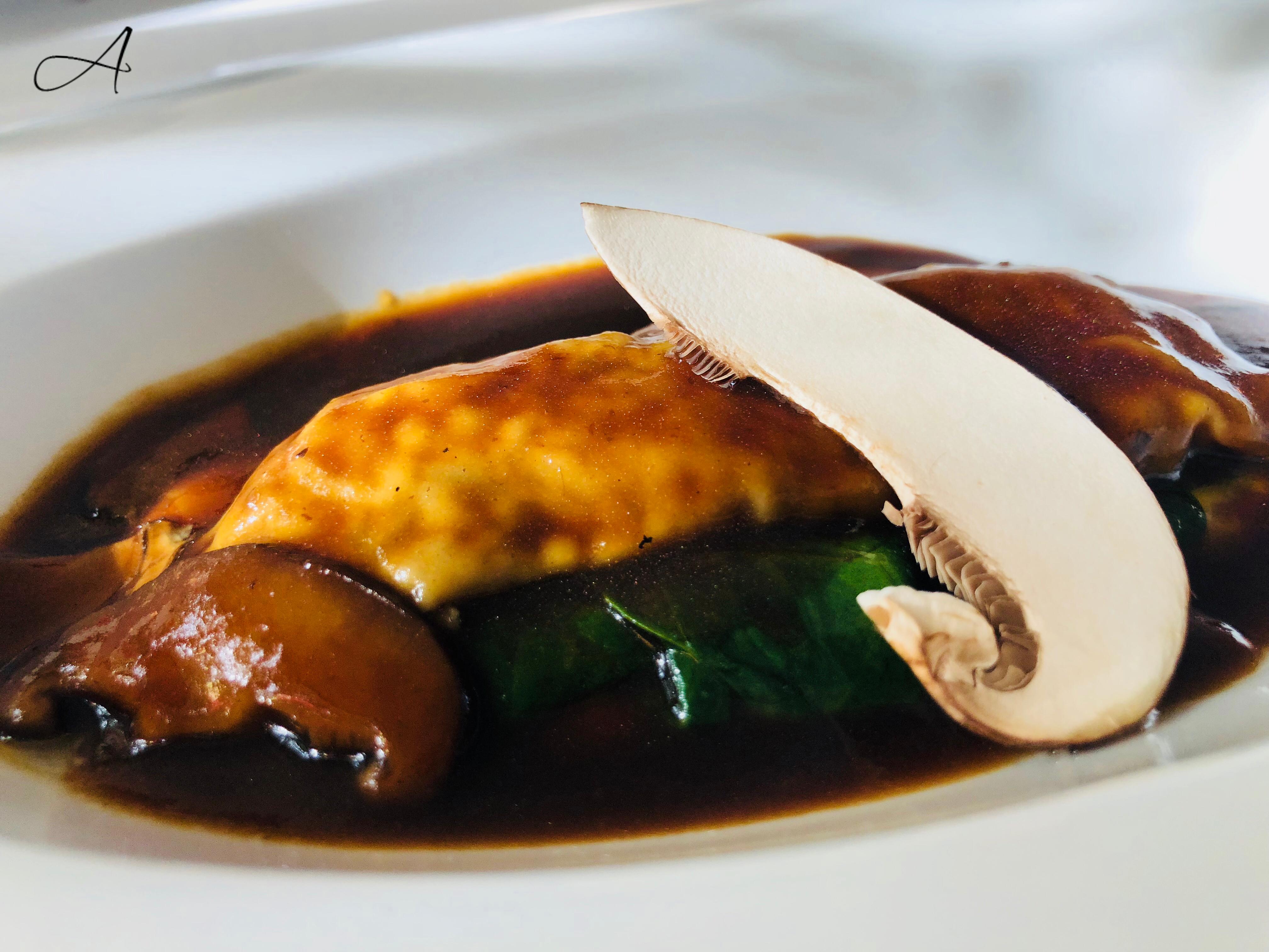 Canelón de setas con espinacas y queso de Menorca