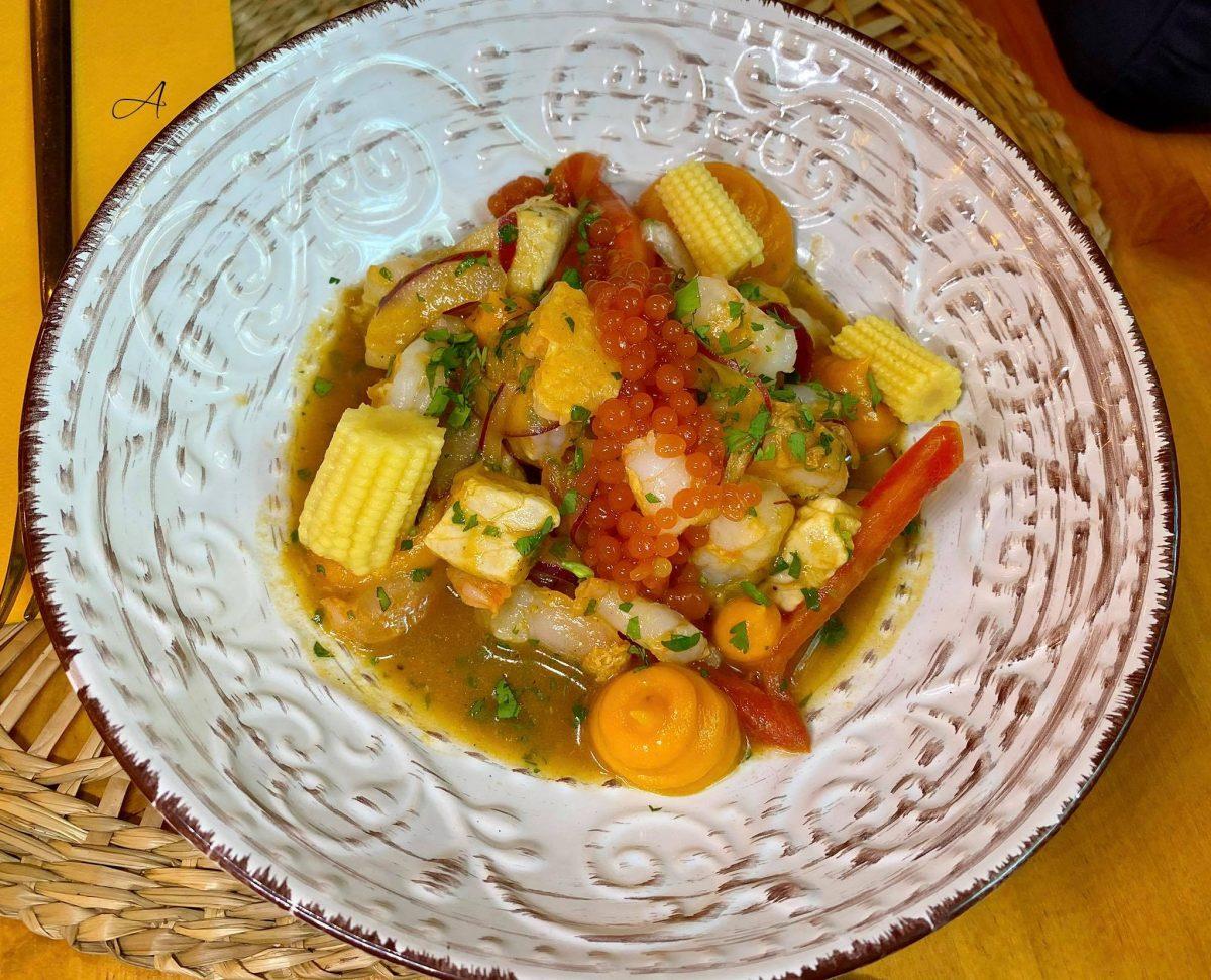 Ceviche de lubina y langostinos